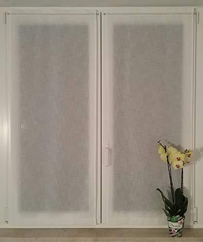 mauro Tende per Finestra e portafinestra confezionate-Coppia Tendine-Larghezza cm 60/80 -Tende a Vetro-Tessuto Bianco Effetto Lino (Porta-cm 60x240)