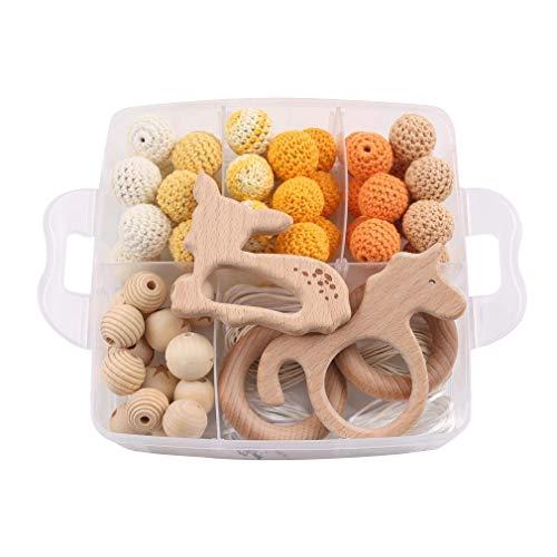 Mamimami Home Perles en Bois Crochet Anneau Dentition Bebe Hochet Montessori Perle pour Attache Tetine Collier Allaitement diy pour Mon Bebe Baby Gym