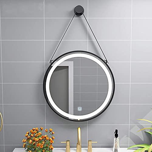 ZCZZ Espejo de baño redondo contemporáneo, elegante iluminado montado en la pared, espejo de maquillaje con interruptor táctil y antiempañamiento, marco de metal