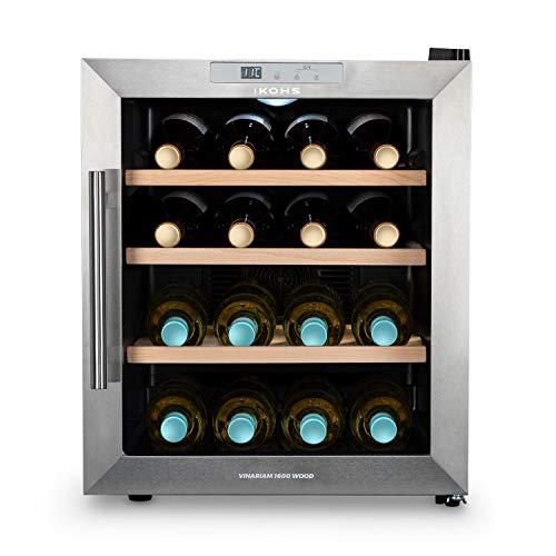 CREATE IKOHS WINECOOLER WOOD L - Vinoteca de 16 botellas, 46 l, 70 W, Luz LED, Display Digital, 3 Estantes, Doble Aislamiento, Zonas de temperatura de 8-18 grados, Baldas Madera