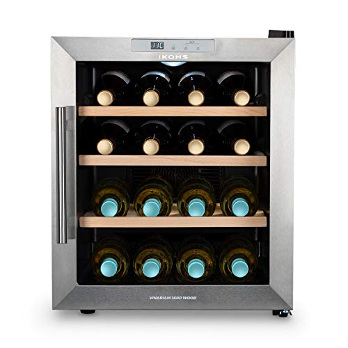 CREATE IKOHS WINECOOLER WOOD L - Vinoteca de 16 botellas, 46 l, 70 W, Luz LED, Display Digital, 3 Estantes, Doble Aislamiento, Zonas de temperatura de 8-18 grados, Baldas Madera