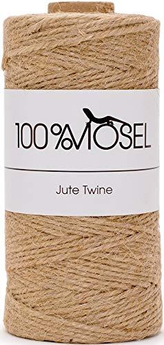 100% Mosel Jutekordel, in Naturbraun (2 mm x 100 m), nachhaltige Schnur aus Jute, rustikales Geschenkband für Weihnachten & Adventszeit, Verpackungsmaterial für jeden Anlass