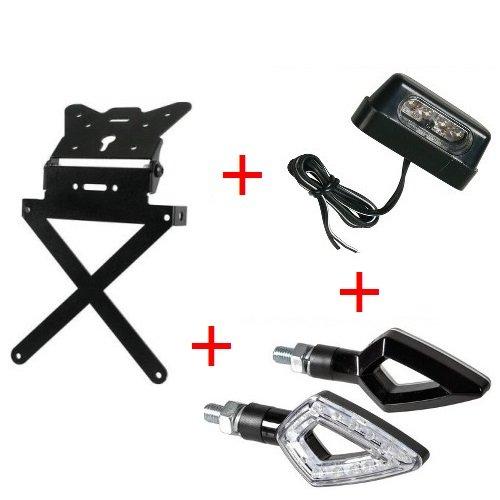 Support de plaque d'immatriculation pour moto Kit universel + 1 paire flèches + lumière plaque d'immatriculation Lampa homologué Yamaha TT 250 R 2000 – 2002