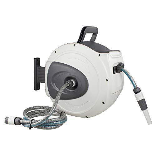 as - Schwabe Automatik-Wasserschlauch-Trommel – mit 20 m PVC-Gewebeschlauch & 2 m Anschlussschlauch – Aufroller mit automatischem Rückzug & Wandhalterung – Garten Zubehör –Weiß/grau