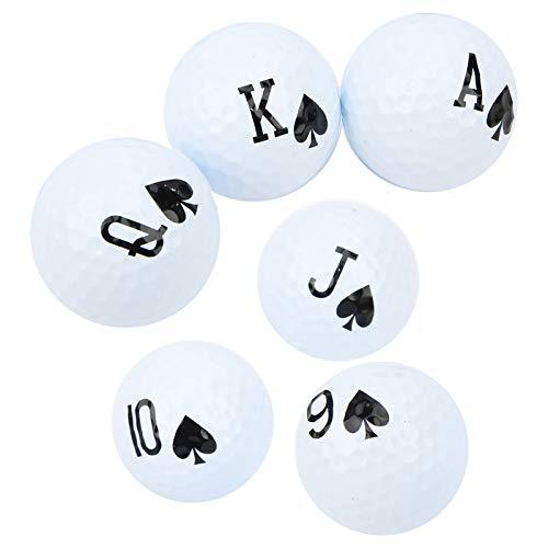 logozoee Pelota de Golf, 6 Piezas elásticas con número de póquer Pelota de Golf de Larga Distancia, para Practicar el Juego de Amantes del Golf