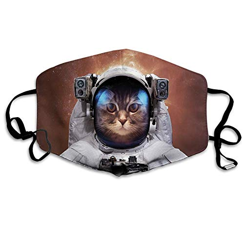 Cat in Space Astronaut Cosmonaut Suit with Milkyway Backdrop Image Unisex Windproof and Dustproof Mouth Mask