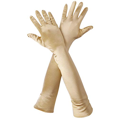 Women's 22'' Long Flapper Satin Finger Gloves Gold Elbow Length 1920s Opera Costume Bridal Dance Gloves For Evening Party, Gold