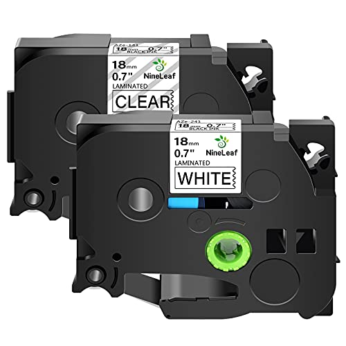 NineLeaf Combo Set 18mm Laminated P Touch Label Tapes Compatible for Brother P-Touch TZ141 TZe241 TZ-141 TZe-241 TZ TZe Label Tape 3/4 Inch x 26.2 Feet PT-D400AD PT340 (Black on Clear/White, 2 Pack)
