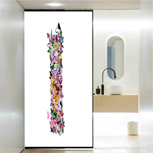 Película autoadhesiva para ventana de privacidad, símbolo de lenguaje de letra I lleno de flores de primavera y C, fácil de instalar y reutilizar película de vidrio, 17.7 x 35.4 pulgadas