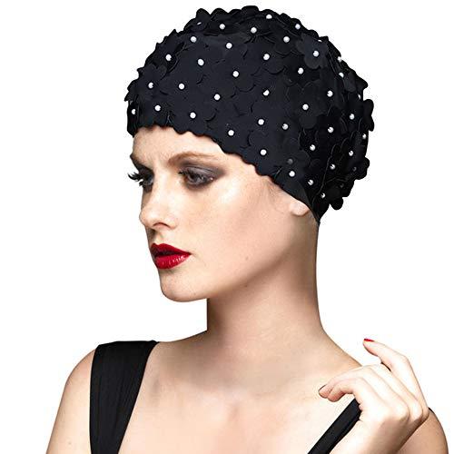 BALNEAIRE Flowers Swim Cap Women Pearl Floral Swim Cap Hat Long Hair Swimming Caps Black Color