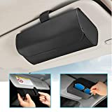 HALOYIVGO Glasses Holder for Car Sun Visor, Leather Sunglasses Clip Storage Case,Automotive Interior Accessories Apply to All Car Models (Black)