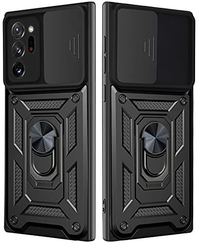 MOONCASE Funda para Galaxy Note 20 Ultra,Ultrafino A Prueba de Golpes Funda Protectora Lomo Duro PC+TPU Suave con Anillo Magnético Stand Caso para Samsung Galaxy Note 20 Ultra 6.9' - Negro