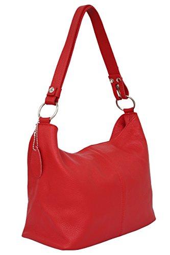 AMBRA Moda Damen Leder Handtasche Schultertasche Umhängetasche Hobo bag GL005 (Rot)