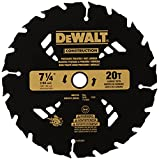 DEWALT 7-1/4' Circular Saw Blade for Pressure Treated and Wet Lumber, ATB, Thin Kerf, 5/8' and Diamond Knockout Arbor, 20-Tooth (DW3174)