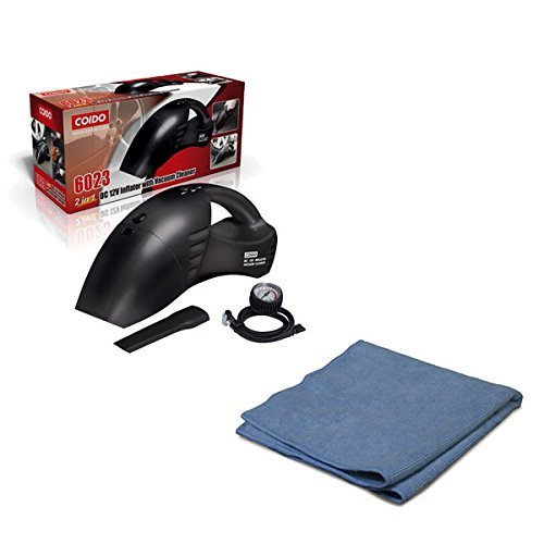Coido Combo of 6023 2-in-1 Car Vacuum Cleaner with Tyre Inflator and Microfiber Cloth