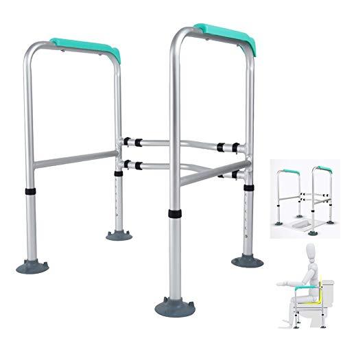 LLF - Barra de Seguridad para Inodoro, Marco de Aluminio Ajustable para Inodoro, Barra de Agarre Antideslizante para barandilla, para Personas Mayores con discapacidad con Patas de fijación de Piso