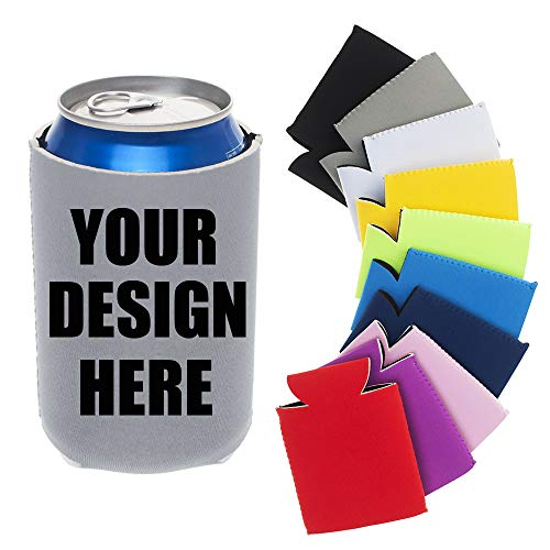 TopTie Custom 20 PCS Neoprene Beer Can Coolers Soda Can Sleeves Beverage Coolers Wedding Party Supplies-Gray