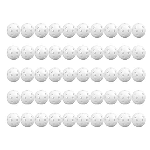 Best Price Jeeke 50pcs Mixed Airflow Hollow Perforated Golf Balls White Plastic Golf Practice Traini...
