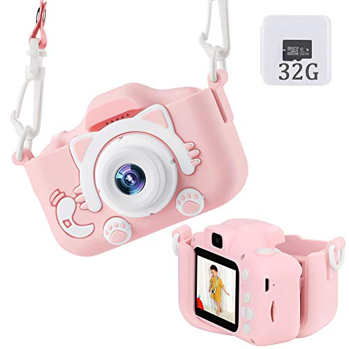 Kids Camera Upgraded Kid Digital Camera for Girls and Boys,1080 IPS Child Video Camera Toys Gift for 3-10 Years Old Children [32GB Memory Card,Protective Case Include](Pink)
