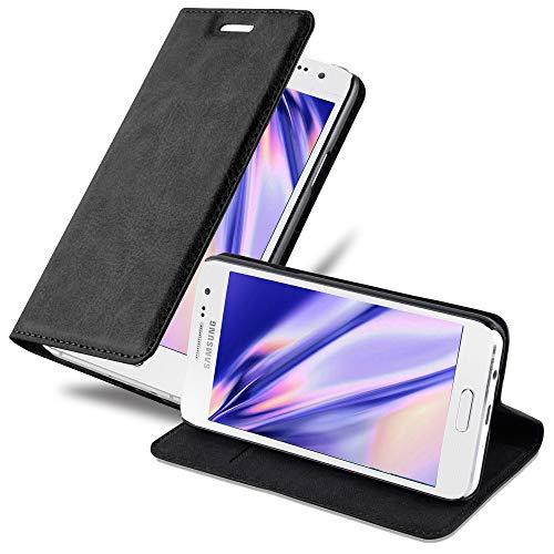 Cadorabo Hülle für Samsung Galaxy A3 2015 (5) - Hülle in Nacht SCHWARZ – Handyhülle mit Magnetverschluss, Standfunktion und Kartenfach - Case Cover Schutzhülle Etui Tasche Book Klapp Style
