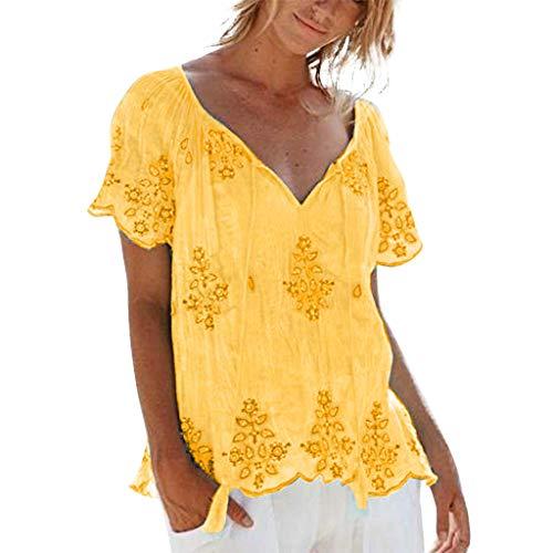 Damen Freizeit T-Shirt,Besticktes Kurzarm-T-Shirt Hemd mit großem V-Ausschnitt Kurzarm Stickerei Verband einfach Blusen Freizeithemden Tops