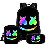 Marshmallow zaino scuola 3 pezzi per bambini astucci, borse a tracolla, borsa per musica DJ giovanile alla moda, pratica borsa per libri adatta per ragazzi e studenti, Colore 1, M,