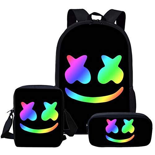 Marshmallow Schulrucksack für Kinder, Federmappe, Schultertaschen, DJ-Musiktasche, modisch, praktisch, für Jugendliche und Studenten, 3 Stück Mehrfarbig Farbe1 M