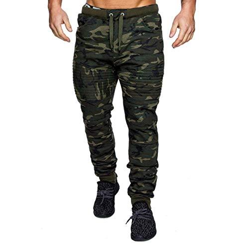 YLBH Lässige Sporthose für Herren gestreifte Tarnung Fitness Sport schlanke Hose in Übergröße Fitness Joggen und Training Sporthose mit Taschen Kurze Hose Sommer Green XXXL
