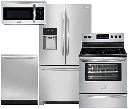 Frigidaire 4-Piece Kitchen Package with FGHB2866PF Refrigerator, DGEF3041KF Range, FGID2466QF Dishwasher and FGMV175QF Microwave in Stainless Steel
