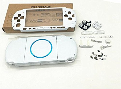 NEW Replacement Sony PSP 3000 Console Full Housing Shell Cover With Button Set -White.