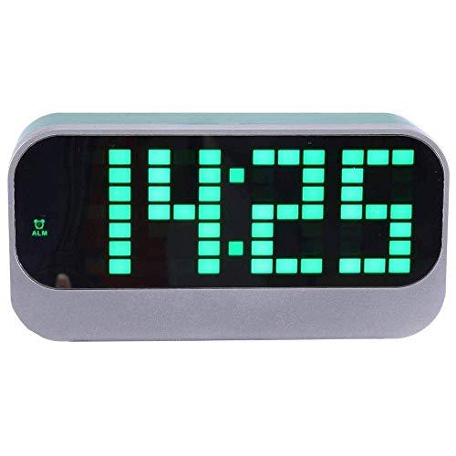 IG Wecker Für Schlafzimmer - Led-Anzeige Mit Dimmer, Snooze, Einfach Mit Der Zeit Eingestellt. Kalender Amp; Temperaturanzeige, Geeignet Für Haushaltsbüro Hotel (Grün)