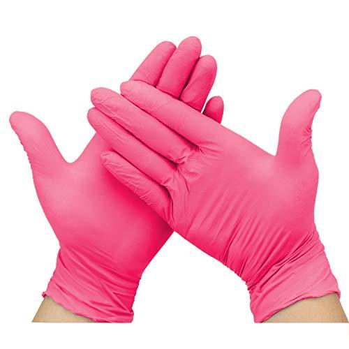 Hseamall, guanti usa e getta in nitrile senza polvere, guanti protettivi per le mani senza lattice, anallergici, resistenti all'usura, colore rosso rosa, Extra Large, Rosso rosato, 100