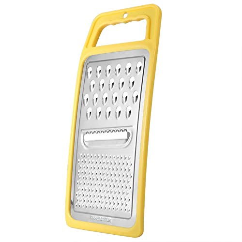 Universal Flat Grater, Stainless Steel Kitchen Graters, for Grate, Grind, Peel and Slice Your Food(Yellow)