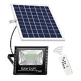 45w Luz Solar Exterior,Lampara Solar para Exterior con Mando a Distancia, Foco Solar Exterior para Frente Exterior Garaje Jardin Camino,IP65 Impermeable, con Cable de 5m