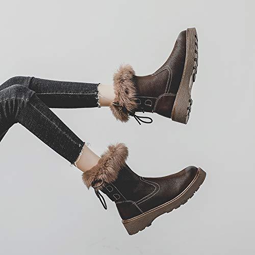 Winterverdickung Und Samtige Schneeschuhe Für Einen Warmen Baumwollschuh Martin Stiefel Frauen Luxus brauner dicker Samt (Fleck) 35