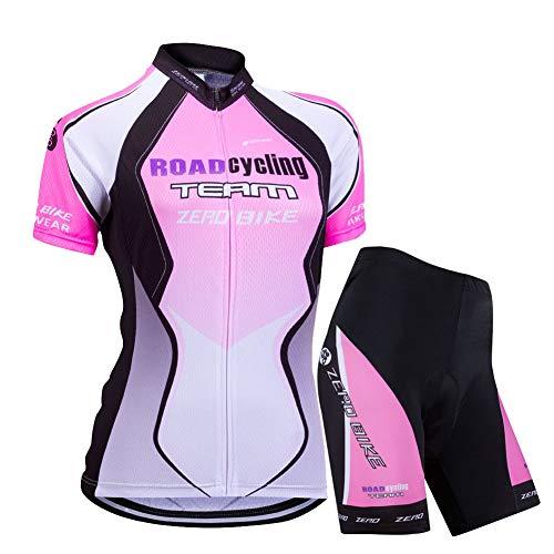 Donne Manica Corta Jersey Abbigliamento Set, Ciclismo Magliette Corta Jersey Camicia + 3D Gel Imbottito Pantaloncini Ciclismo Equitazione Bike Sportswear (Gradiente Viola, S)