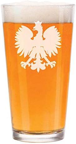 16 oz Beer Pint Glass Poland Polish Eagle product image
