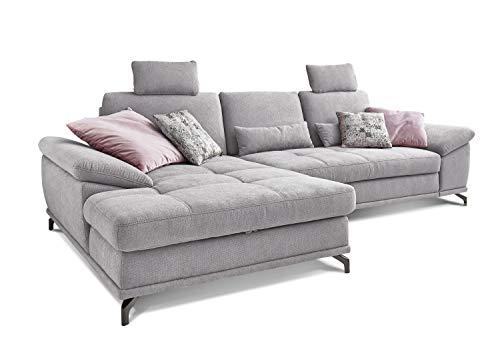 Cavadore L-Form-Sofa Castiel mit Federkern, Großes Schlafsofa mit Bettfunktion, Sitztiefenverstellung, Kopfstützen und XL-Longchair, 312 x 114 x 173, Webstoff, hellgrau