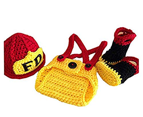 Pinbo Baby Boys Girls Photography Prop Crochet FD Fireman Hat Diaper Boots