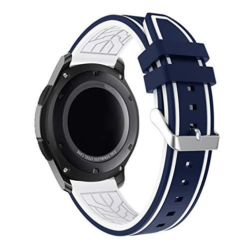 Lux Mary Armband kompatibel mit Garmin Vivoactive 4 (45MM) / Legacy Saga Darth Vader (45MM) / Legacy Hero First Avenger (45MM) Armband Uhr Band Strap Ersatzarmband Uhrenarmband (22mm, Blau und Weiß)