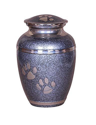 Haustier-Urne für Asche mit Pfotenabdruckmotiv, für Hunde und Katzen, metall, Grey Band 6 Inch