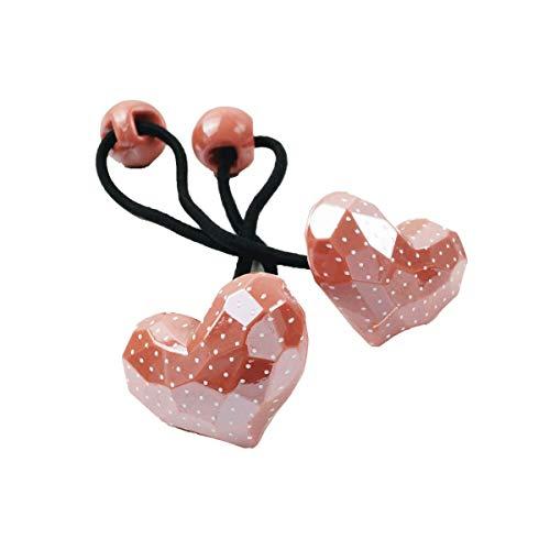 [ATK21] (2点セット) ハート Heart cute ドット 水玉 子供用ヘアゴム ツインテール ヘアポニー 卒業式 入学式 発表会 七五三 結婚式 パーティ 子供 キッズ 女の子 ヘアアクセサリー (Pink)