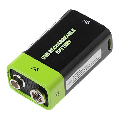 WEISHAZI - Batería recargable USB 6F22 Lipo de 9 V 400 mAh para control remoto de micrófono multímetro