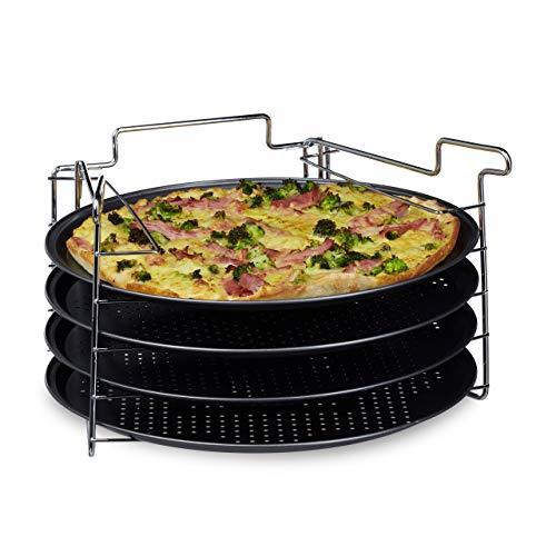 Relaxdays Set de 4 Bandejas Pizza Horno con Soporte, Plato Redondo, Molde,...