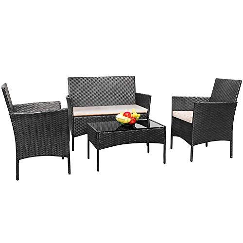 TUOKE Rattan Garden Furniture Set Patio Conservatory Indoor Outdoor 4 Piece Set Table Chair Sofa Black