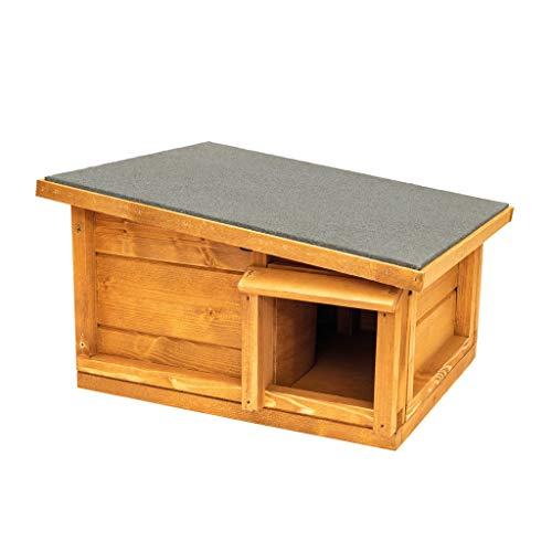 The Hutch Company Hedgehog House and Hibernation Shelter - Predator-Proof Outdoor Habitat, Feeding Station and Home - Felt Roof Cover and Full Wood Flooring - Best Pet Garden Hedgehogs Wooden Houses