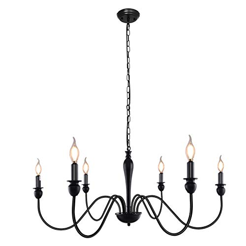 KOSTOMO 6-Lights Black Farmhouse Chandeliers Classic Candle Chandelier Rustic Light Fixtures Industrial Iron Ceiling Lights for Dining Kitchen Island Living Room Bedroom