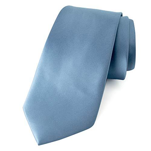 Spring Notion Men's Solid Color Satin Microfiber Tie Steel Blue