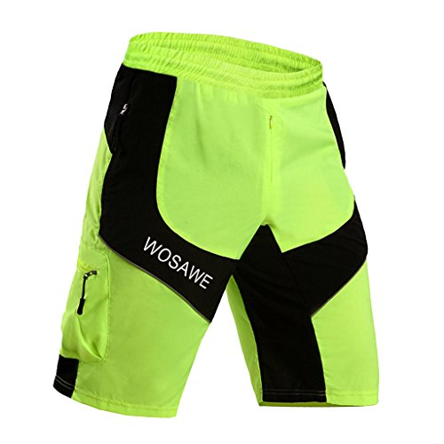 Toygogo Mens Mountain MTB Bike Ciclismo Shorts Riding Running Deportes Al - Verde Fluorescente, L