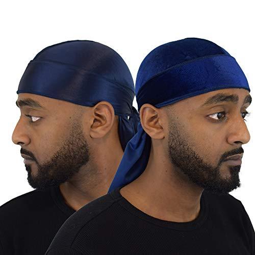 Wayvee Crowns 2Pack Premium Durags for Men Waves   1 Velvet Durag   1 Silk Durag (Blue)